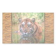 Bengal Tiger In Water Rectangle Decal