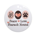 Peace Love Pharaoh Hound Ornament (Round)