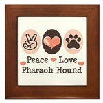 Peace Love Pharaoh Hound Framed Tile