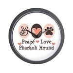 Peace Love Pharaoh Hound Wall Clock