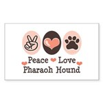 Peace Love Pharaoh Hound Rectangle Sticker