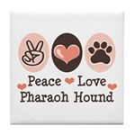 Peace Love Pharaoh Hound Tile Coaster