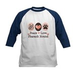 Peace Love Pharaoh Hound Kids Baseball Jersey