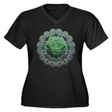 Greenman Women's Plus Size V-Neck Dark T-Shirt