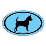 Chihuahua Oval (black on blue) Oval Sticker