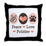 Peace Love Pointer Throw Pillow