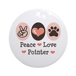 Peace Love Pointer Ornament (Round)