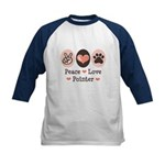 Peace Love Pointer Kids Baseball Jersey