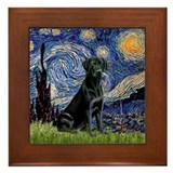 Starry Night Black Lab Framed Tile