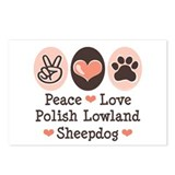 Peace Love Polish Lowland Sheepdog Postcards (Pack