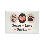 Peace Love Poodle Rectangle Magnet (10 pack)