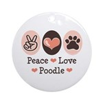 Peace Love Poodle Ornament (Round)