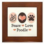 Peace Love Poodle Framed Tile