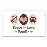 Peace Love Poodle Rectangle Sticker