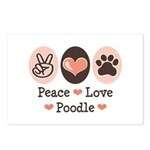 Peace Love Poodle Postcards (Package of 8)