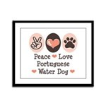 Peace Love Portuguese Water Dog Framed Panel Print