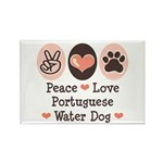 Peace Love Portuguese Water Dog Rectangle Magnet (