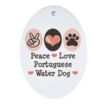 Peace Love Portuguese Water Dog Oval Ornament