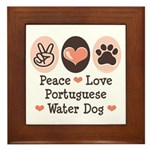 Peace Love Portuguese Water Dog Framed Tile