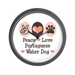 Peace Love Portuguese Water Dog Wall Clock