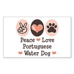 Peace Love Portuguese Water Dog Sticker (Rectangul