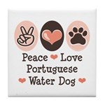 Peace Love Portuguese Water Dog Tile Coaster