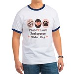 Peace Love Portuguese Water Dog Ringer T