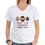 Peace Love Portuguese Water Dog Women's V-Neck T-S