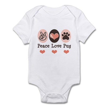 Peace Love Pug Infant Bodysuit