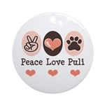Peace Love Puli Ornament (Round)