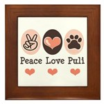 Peace Love Puli Framed Tile