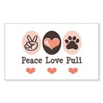 Peace Love Puli Rectangle Sticker