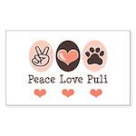 Peace Love Puli Rectangle Sticker