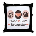 Peace Love Rottweiler Throw Pillow