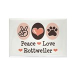 Peace Love Rottweiler Rectangle Magnet (100 pack)