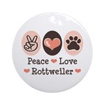 Peace Love Rottweiler Ornament (Round)