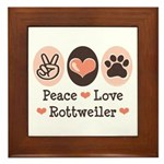 Peace Love Rottweiler Framed Tile