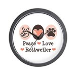 Peace Love Rottweiler Wall Clock