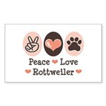 Peace Love Rottweiler Rectangle Sticker