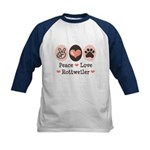 Peace Love Rottweiler Kids Baseball Jersey