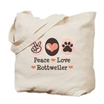 Peace Love Rottweiler Tote Bag