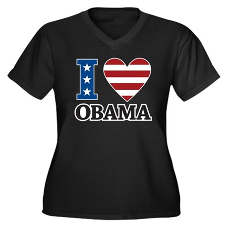 I Love Obama Women's Plus Size V-Neck Dark T-Shirt