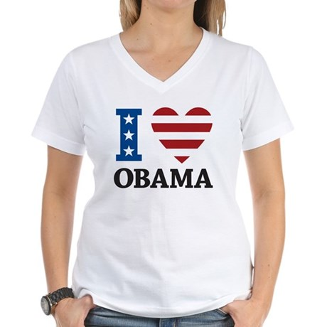 I Love Obama Women's V-Neck T-Shirt