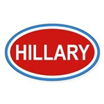 HILLARY Red White and Blue Euro Oval Sticker