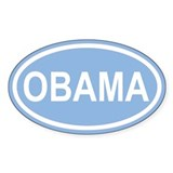 OBAMA 08' Caroline Blue Euro Oval Decal