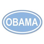 OBAMA 08' Caroline Blue Euro Oval Sticker