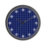 Cozy Blue Plaid Clock