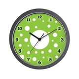 Green Polka Dot Clock