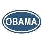 OBAMA 08' Blue Euro Oval Sticker