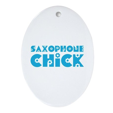 Saxophone Chick Oval Ornament